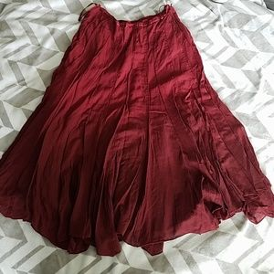 Lapis Red Long Lined Skirt Sz S